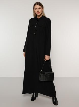 Black - Unlined - Point Collar - Viscose - Plus Size Dress
