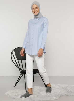 Blue - Point Collar - Cotton - Blouses