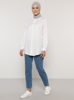 White - Point Collar - Cotton - Blouses - Everyday Basic