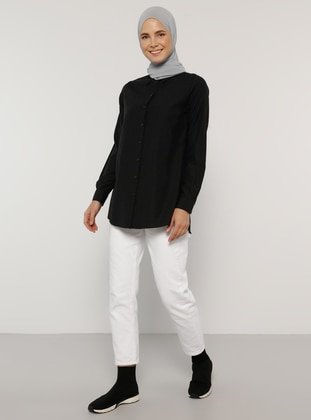 Black - Point Collar - Cotton - Blouses