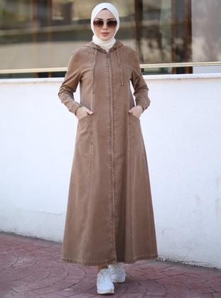 Brown - Unlined - Denim -  - Abaya - Neways