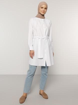 White - Button Collar -  - Tunic