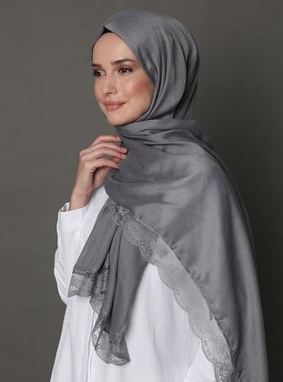 Anthracite - Plain - Lace - Shawl