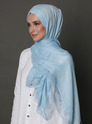 Baby Blue - Plain - Lace - Shawl