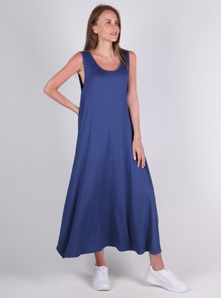 Blue - Viscose - Loungewear Dresses