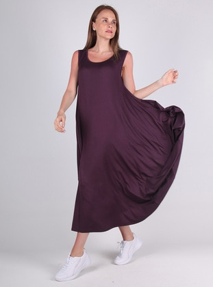 Purple - Viscose - Loungewear Dresses