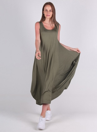 Green - Viscose - Loungewear Dresses