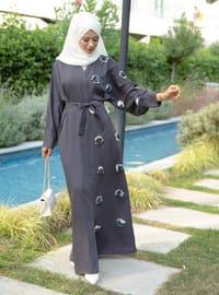 Gray - Unlined - V neck Collar -  - Abaya