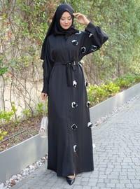 Black - Unlined - V neck Collar -  - Abaya
