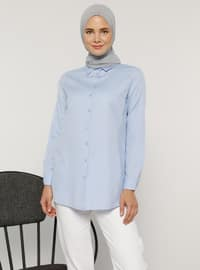 Blue - Point Collar - Cotton - Blouses