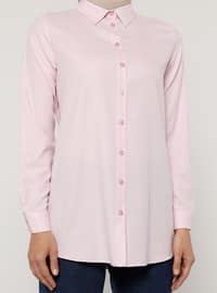 Pink - Point Collar - Cotton - Blouses