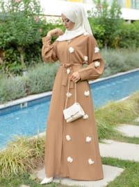 Mustard - Unlined - V neck Collar -  - Abaya