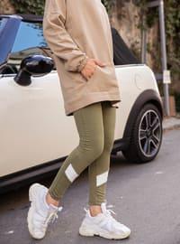 Khaki - - Gym Leggings