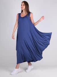 Blue - Viscose - Loungewear Dresses