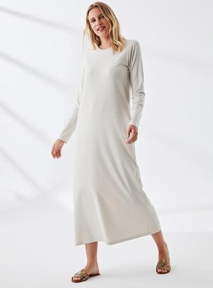 Ecru - Crew neck - Unlined -  - Dress