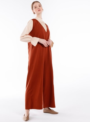 Cinnamon - Unlined - V neck Collar -  - Jumpsuit