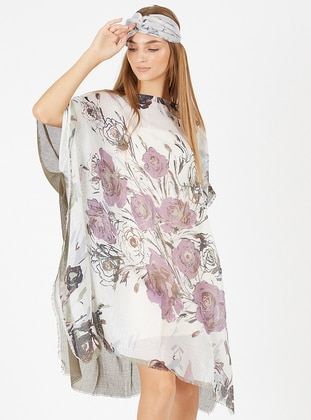 Viscose - White - Lilac - Pareo