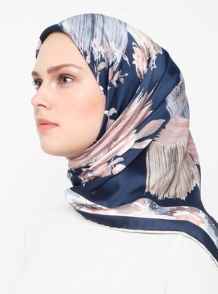 Beige - Navy Blue - Floral - Rayon - Scarf