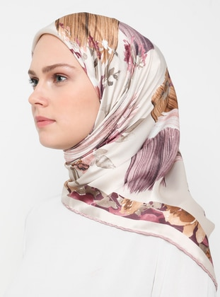 Beige - Lilac - Floral - Rayon - Scarf