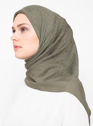 Khaki - Printed - Chiffon - Scarf