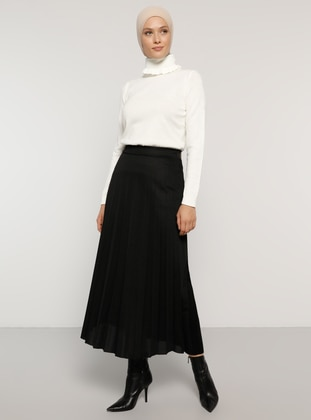 Black - Unlined -  - Skirt - Refka