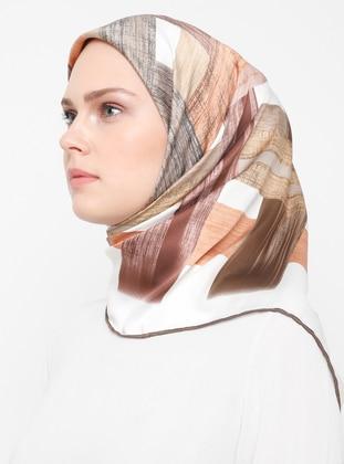Brown - Cream - Printed - Rayon - Scarf