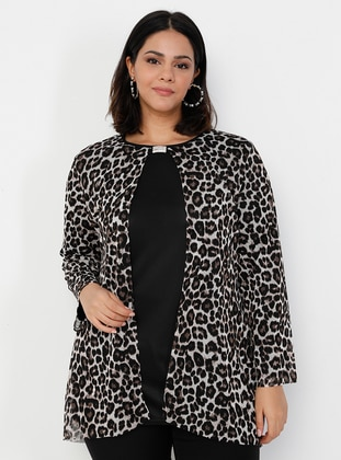 Brown - Leopard - Leopard - Crew neck - Plus Size Evening Tunics