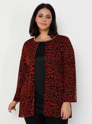 Terra Cotta - Leopard - Crew neck - Plus Size Evening Tunics - Apaydın Giyim
