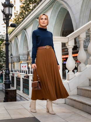 Camel - Unlined -  - Skirt - Refka