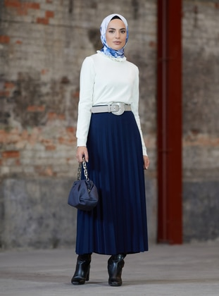 Navy Blue - Unlined -  - Skirt - Refka