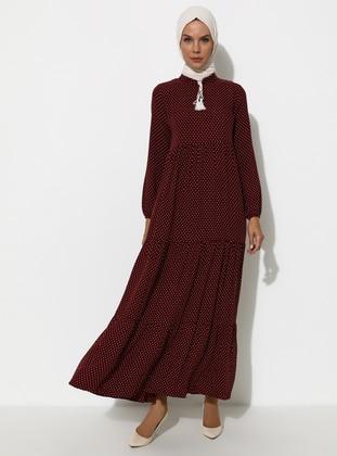 Maroon - Polka Dot - Crew neck - Unlined - Viscose - Dress