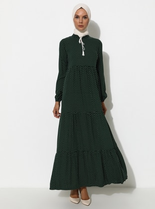 Green - Polka Dot - Crew neck - Unlined - Viscose - Dress