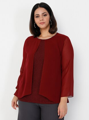Crew neck - Maroon - Plus Size Evening Blouses / Shirts