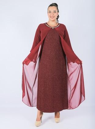 Maroon - Unlined - Crew neck - - Chiffon - Muslim Plus Size Evening Dress