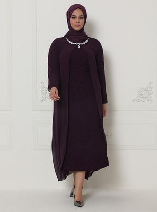 Plum - Unlined - Crew neck -  - Chiffon - Muslim Plus Size Evening Dress