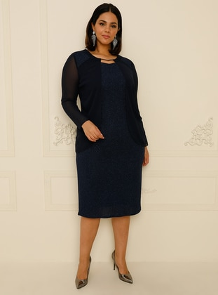 Navy Blue - Fully Lined - V neck Collar - Muslim Plus Size Evening Dress