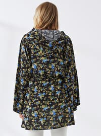 Khaki - Black - Floral - Unlined - Viscose - Topcoat