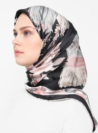 Dusty Rose - Black - Floral - Rayon - Scarf