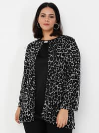Leopard - Black - Leopard - Crew neck - Plus Size Evening Tunics