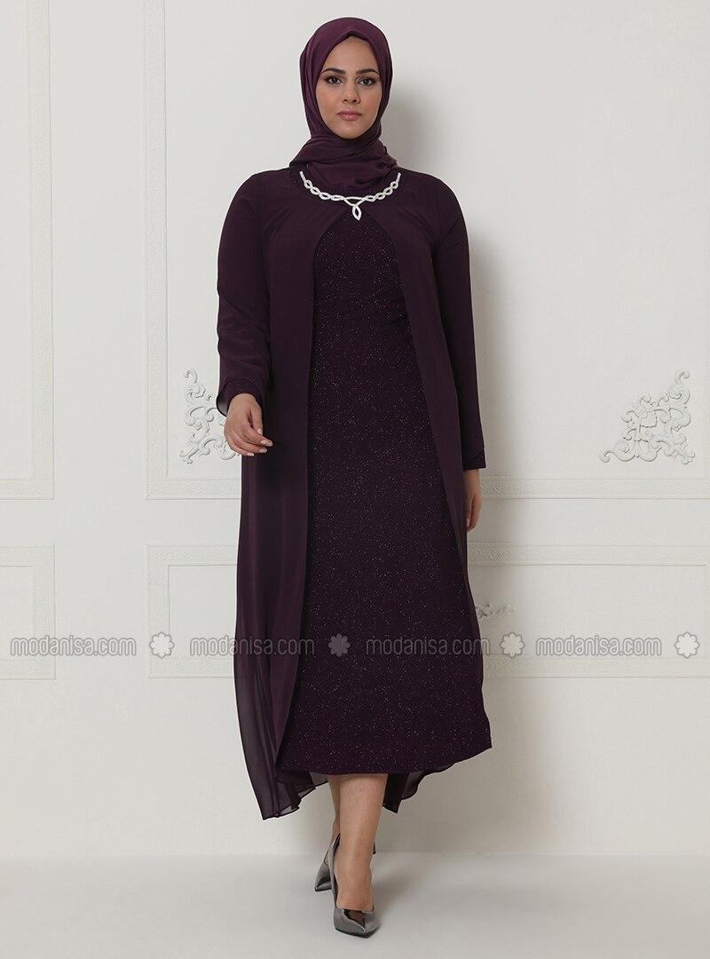 Plum - Unlined - Crew neck - - Chiffon - Muslim Plus Size Evening Dress