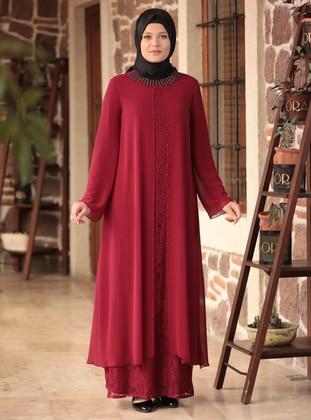 Maroon - Fully Lined - Crew neck - Chiffon - Muslim Plus Size Evening Dress