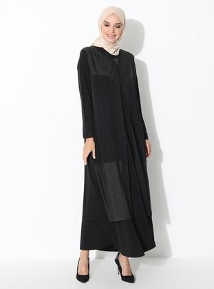 Khaki - Crew neck - Unlined - Plus Size Evening Suit