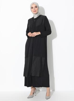 Black - Crew neck - Unlined - Plus Size Evening Suit - Ferace