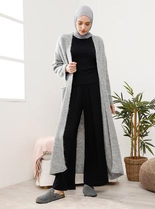 Gray - Acrylic - Cotton -  - Cardigan