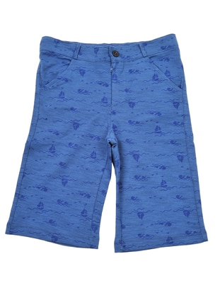 Point Collar -  - Unlined - Blue - Boys` Shorts