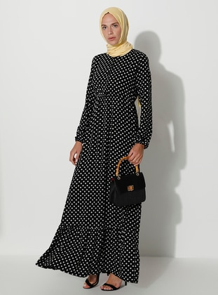 White - Black - Polka Dot - Crew neck - Unlined - Dress