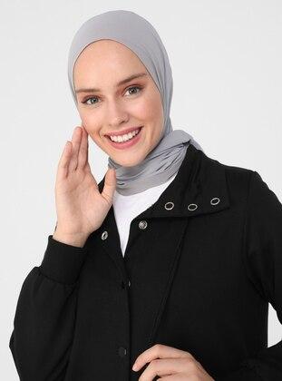 High Collar Snap Fastener Topcoat - Black - Refka Casual