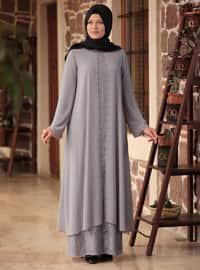 Gray - Fully Lined - Crew neck - Chiffon - Muslim Plus Size Evening Dress