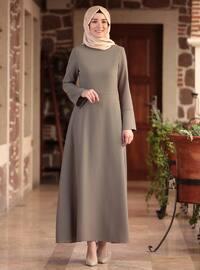 Khaki - Fully Lined - Crew neck - Muslim Evening Dress