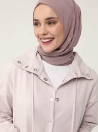High Collar Snap Fastener Topcoat - Deep Pink - Casual